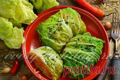Постные голубцы из пекинской капусты, рецепт с фото