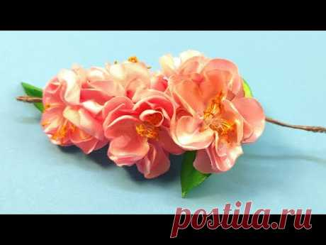 Сакура из атласных лент своими руками МК | DIY Sakura Flowers from Satin Ribbon - YouTube