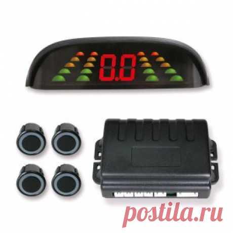 Spider PS-14 4-сенсорный парковочный радар с врезными датчиками черного или серебристого цветов диаметром 20 мм., дисплей с 2-мя световыми шкалами, имеющими 5 градаций расстояния и цифровой индикацией расстояния и бипером.