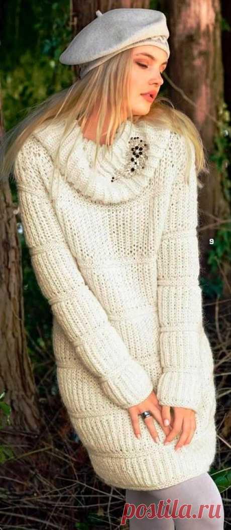 Платье спицами с патентным узором