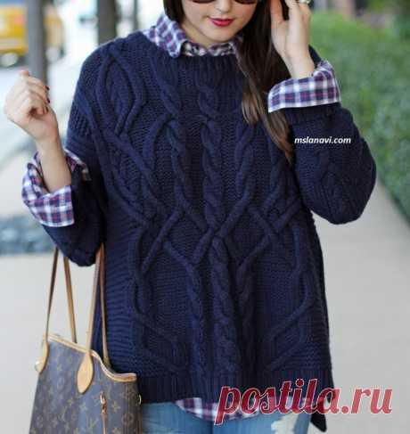 Вязаный свитер красивым араном | Вяжем с Лана Ви