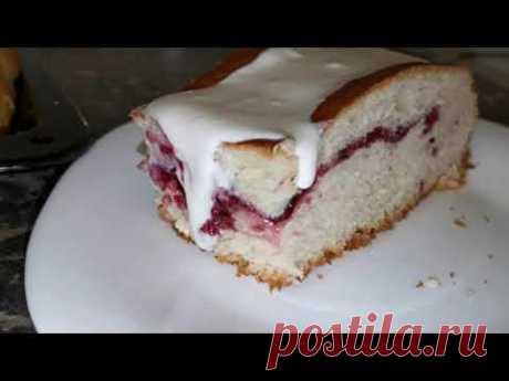 Домашний пирог с вареньем и сметанной заливкой - YouTube
