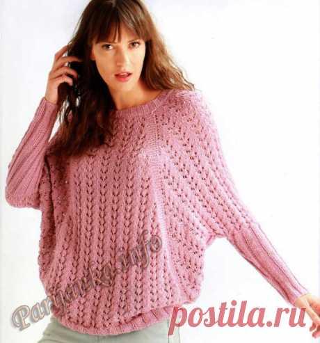 Розовый пуловер спицами с рукавом летучая мышь