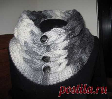 Оригинальный шарф-воротник спицами — DIYIdeas