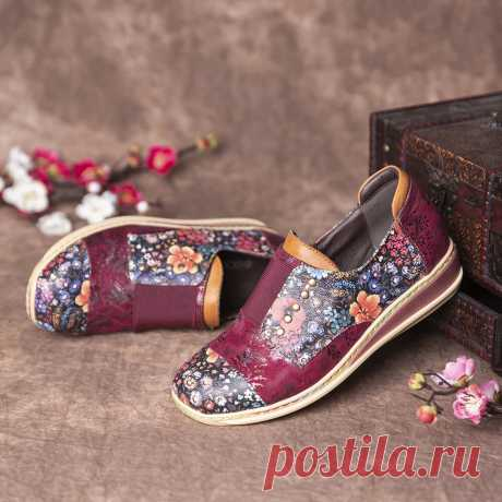 SOCOFY Retro Splicing Small Flowers Genuine Leather Flat Zipper Shoes - US$63.99