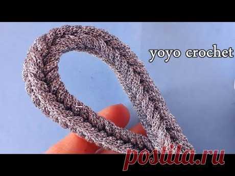 فقط بغرزة الحشو !!!! يد شنطة رائعة وسهلة - Crochet handle - Cord - handbag#يويو كروشية