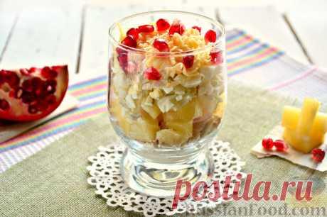 Recipe: Portion chicken and pineapple salad on RussianFood.com
