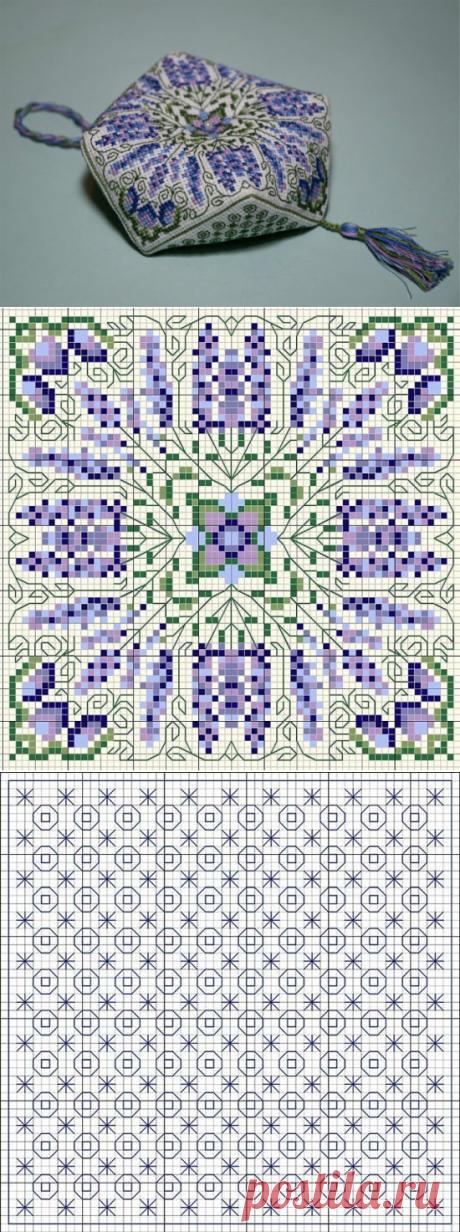 """Embroidery biskornyu """"Лаванда"""". Scheme."""