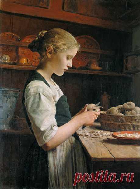 The small Kartoffelschälerin - Albert Anker as art print or hand painted oil.
