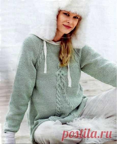 Пуловер-реглан А-образного силуэта. Описание