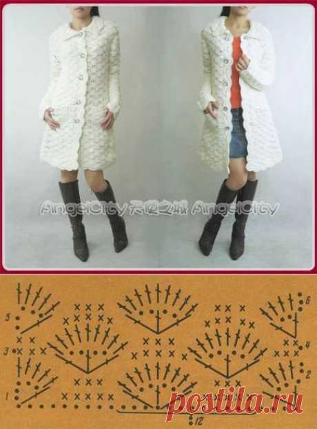 Готовимся к осени))) Вязанное крючком белое пальто.