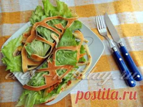 Кружевные блинчики с овощной начинкой: рецепт с фото