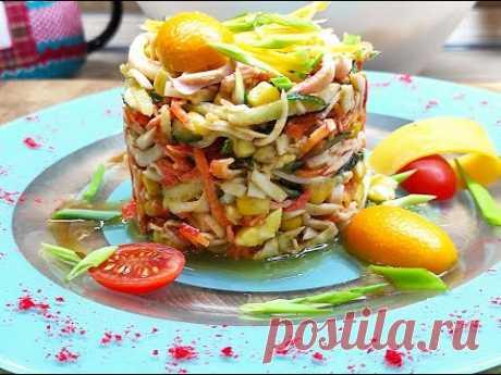 отличный салатик = крабовые палочки + кальмар !