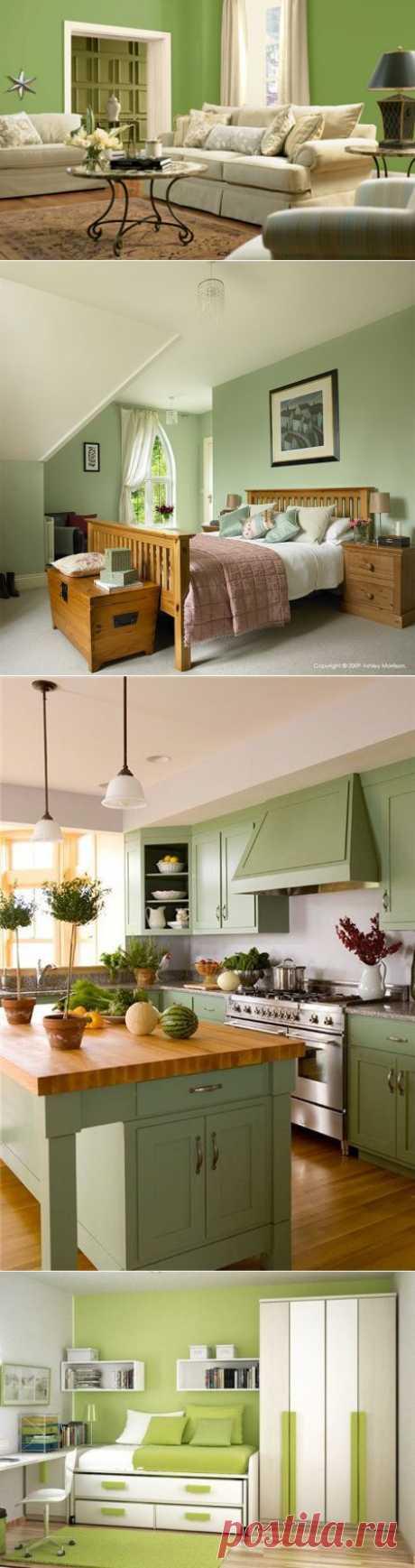 Фисташковыйцвет стен в интерьере спальни - Дизайн квартиры!