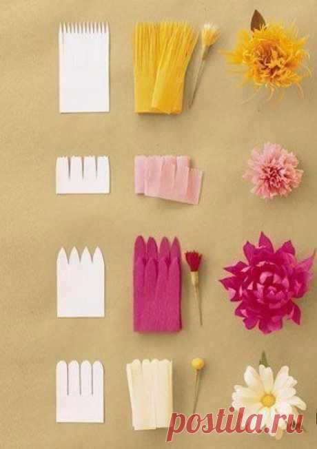 Как сделать различные цветы из гофробумаги.