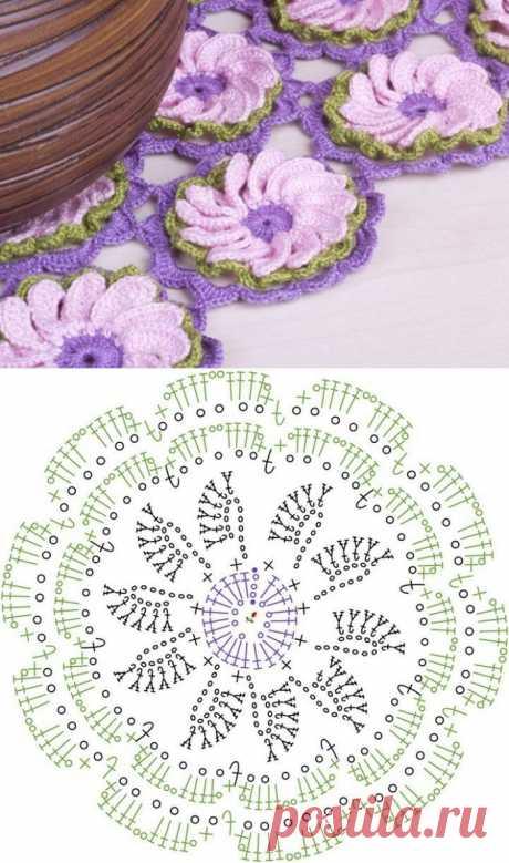 Удивительно красивый цветочный мотив крючком. Схема.