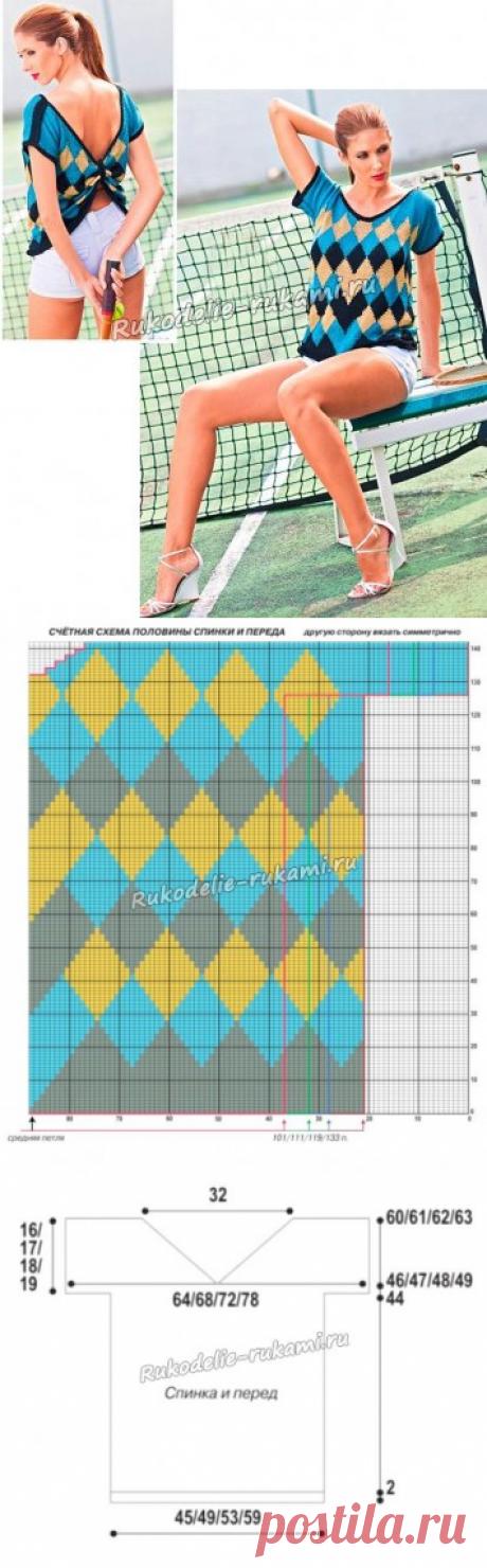 Женская летняя туника спицами - схемы для вязания