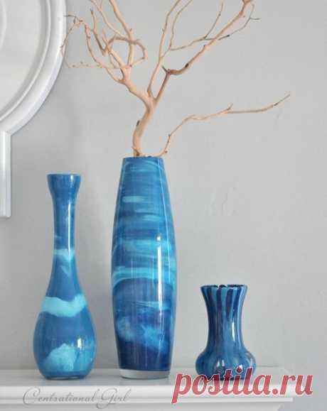 Красим стеклянные вазы. Супер идея!. Любую вазу или стеклянный сосуд можно превратить в великолепную креативную вазу для цветов и украшения интерьера.
