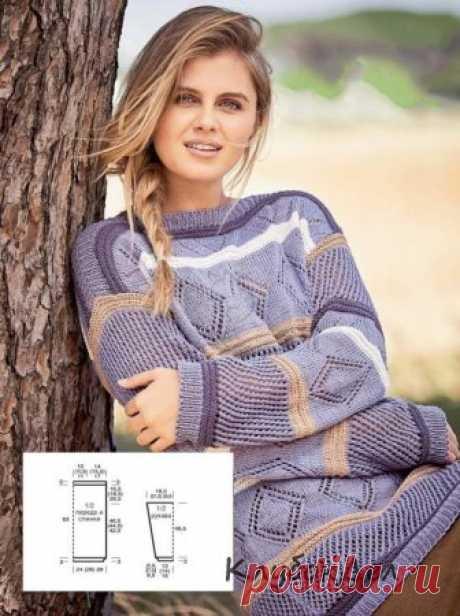 Вязание спицами для женщин - пуловер в полоску с сочетанием узоров, схемы с описанием