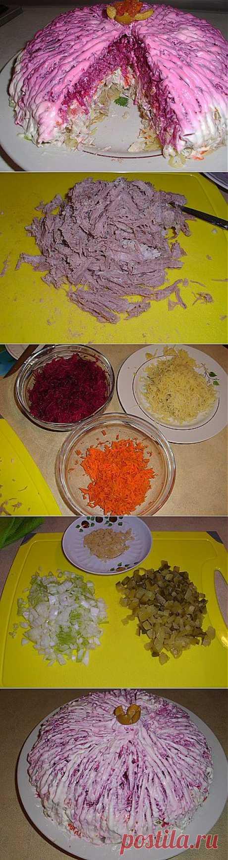 Слоеный салат со свеклой и мясом свинины | Рецепты моей мамы