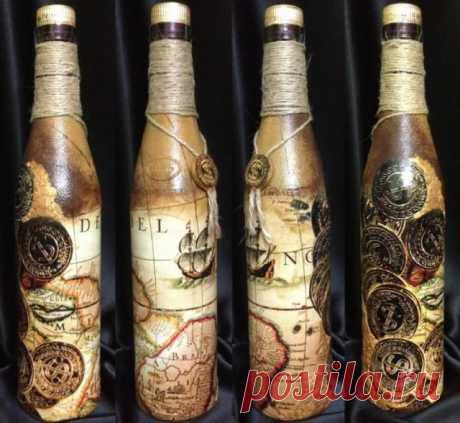 Декупаж бутылок своими руками Декупаж свадебных бутылок шампанского и бокалов салфетками, лентами, цветамиДля декорирования бутылок и бокалов на свадьбу нужно воспользоваться следующей схемой: Поверхность для начала обезжиривается...