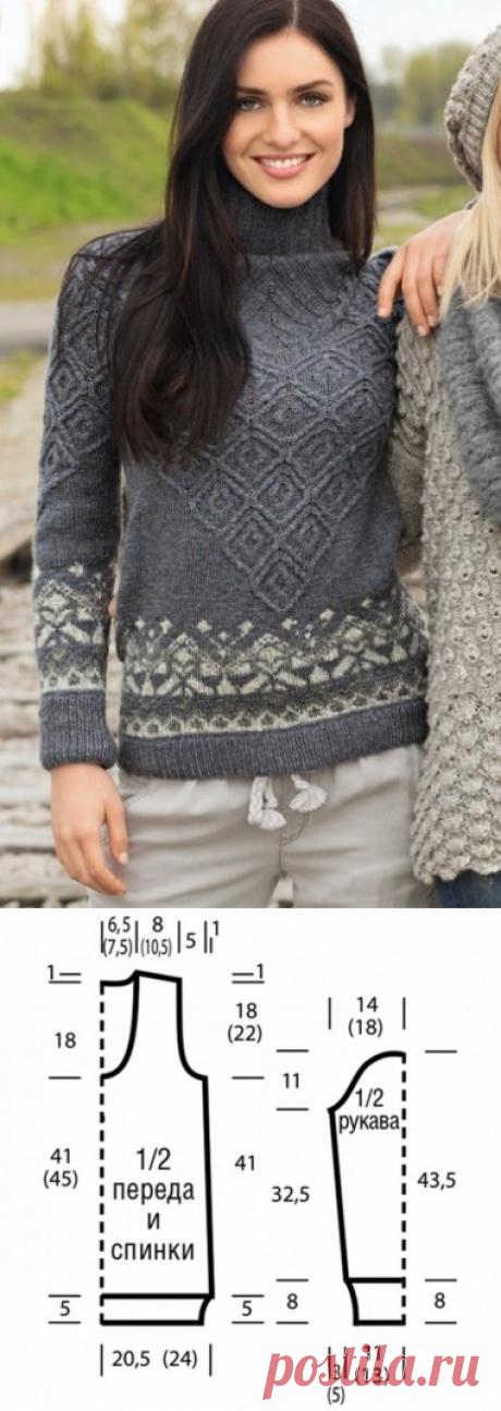 Интересный свитер: жаккардовые и рельефные узоры из категории Интересные идеи – Вязаные идеи, идеи для вязания