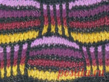 Узор из снятых петель схема двухцветные