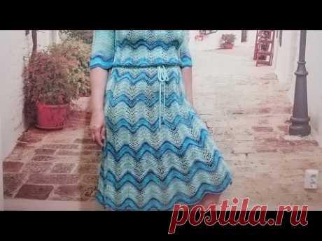 """Готовая работа. Платье """"Морская волна"""" из Ализе дива батик."""