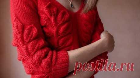 """Вяжем пуловер узором """"Листья на ветке"""" ♥ Часть 1 ♥ Вяжем спицами ♥ Wild Rose"""