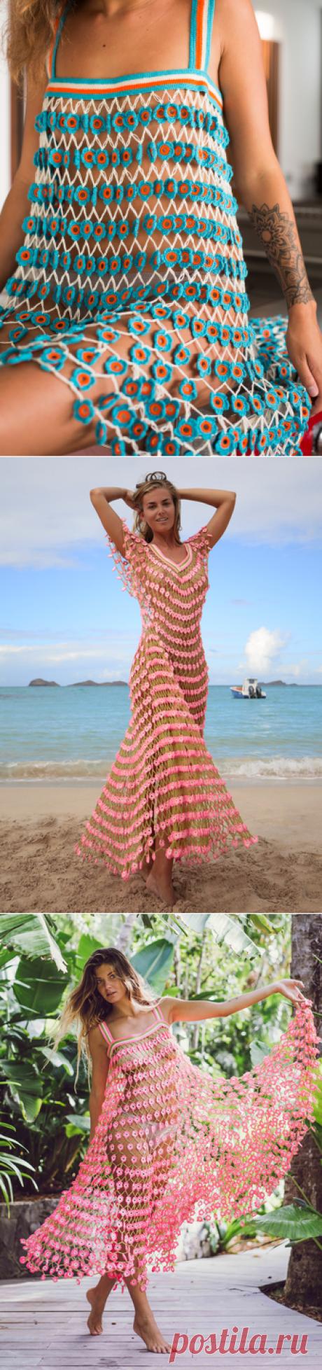 Flower Power Crochet Blue Mini Dress-My Beachy SideИдеи.