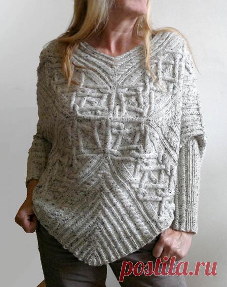 Вязаный пуловер-пончо Traces | ДОМОСЕДКА