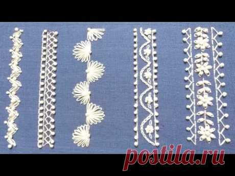Hand Embroidery,easy borderline embroidery tutorial,bead embroidery,हाथ की कढ़ाई,হাতের wzory haftowকাজ