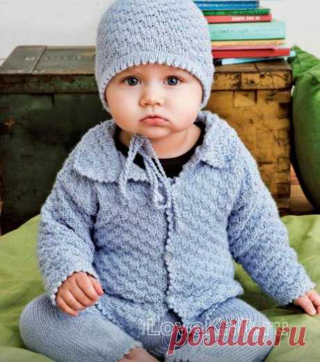"Jacket with a collar, semi-overalls and a hat for the kid the scheme"" I Like to Knit"