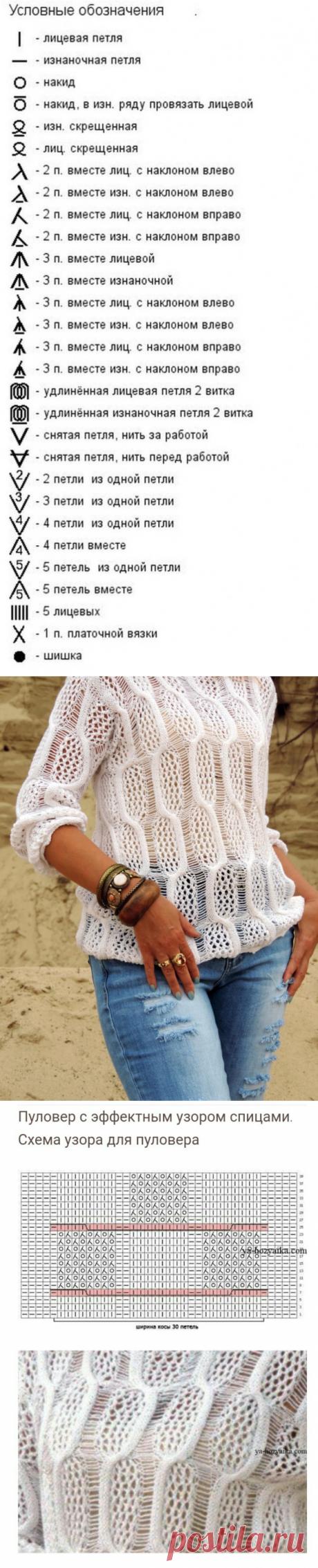 Пуловер с эффектным узором спицами — Сделай сам, идеи для творчества - DIY Ideas