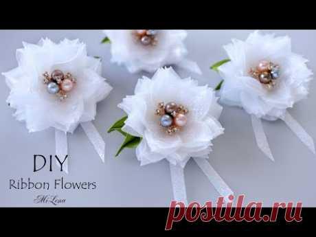 🌸 ЦВЕТЫ ИЗ ЛЕНТЫ 🌸 DIY RIBBON FLOWERS 🌸