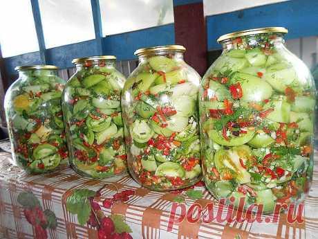 Marinated green Infernal tomatoes \u000d\u000a\u000d\u000aOn two 3-liter banks: \u000d\u000aTomatoes green – 3,2-3,5 kg \u000d\u000aBitter hot pepper – 2-3 pieces. \u000d\u000aParsley – 1 bunch \u000d\u000aFennel – 1 bunch \u000d\u000aGarlic – 1 head \u000d\u000aPepper black peas – 10 pieces. \u000d\u000aPepper a sweet pea – 10 pieces. \u000d\u000a\u000d\u000aFor marinade: \u000d\u000aWater – 2,5 l \u000d\u000aSalt – 2,5 tbsps. \u000d\u000aSugar – 10 tbsps. \u000d\u000aVinegar of 9% – 300 ml \u000d\u000a\u000d\u000a\u000d\u000aTomatoes to touch, wash, cut everyone on 4 parts. To peel pepper of seeds and fruit stems, to chop small. Greens to wash, chop. H...