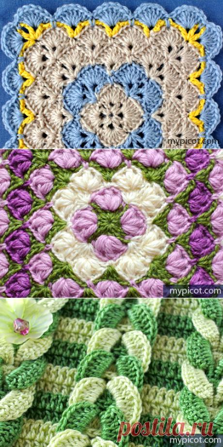 Множество узоров крюком, с подробным описанием MyPicot | Free crochet patterns