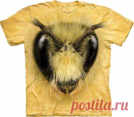 Арт № 103493 Футболка  3D The Mountain Classic - - Bee Head Бесшовная футболка -варенка 100% хлопок Размеры Детские S, M, L,XL  +  Взрослые  S, M, L,XL, XXL, XXXL Рисунок нанесен красками на водной основе. Не выгорает, не тянется