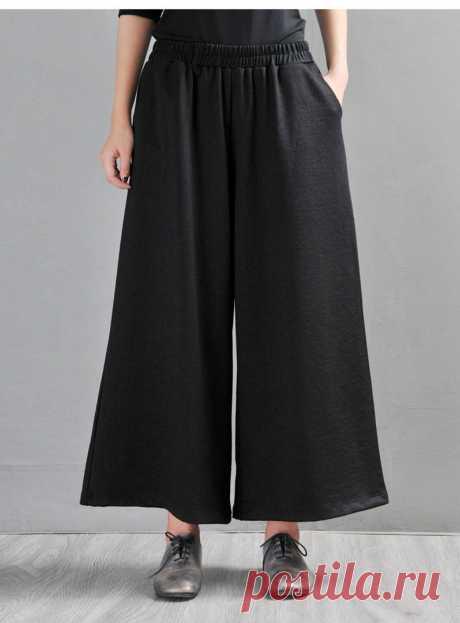 Black Cotton Women's Straight Pants-Cute Wide Leg | Etsy