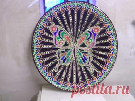 Спутниковая тарелка,роспись точкой.