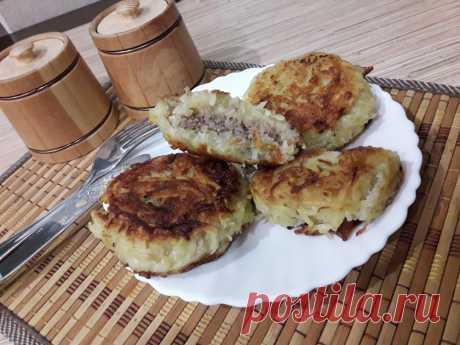 Картофельные котлеты, фаршированные с мясом