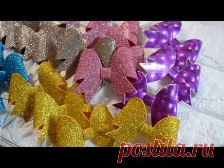Бантики на елочку/🎀 БАНТИКИ по шаблону 🎀 МК/ DIY Christmas Glitter Bows