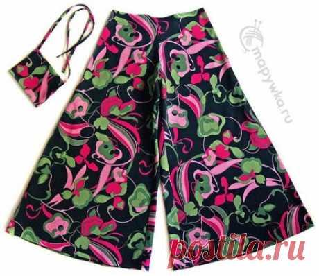 Широкие летние брюки-клеш (юбка-брюки) - купить | Одежда ручной работы | HANDMADE интернет-магазин