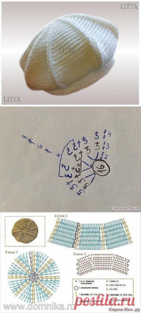 Interesting beret hook. Description of knitting, scheme