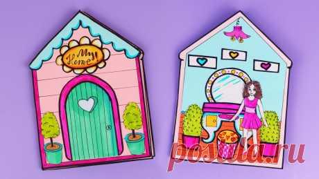 🌷DIY ОРИГАМИ🌷 РАСКЛАДНОЙ ДОМИК 3D с мебелью из бумаги 🌷 / Как сделать бумажный дом  своими руками 🌷DIY🌷Как сделать бумажный кукольный домик своими руками.🌷 Придумай и нарисуй своего жильца и комнаты. А можешь сделать как мы! Домик небольшого размера, е...