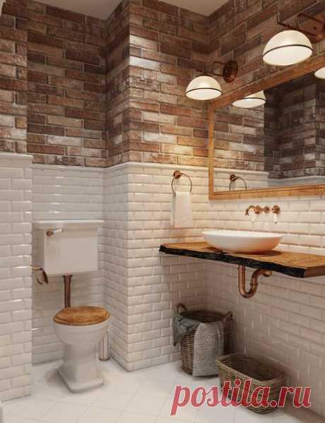 Дизайн ванной комнаты: смесь лофта и фьюжена