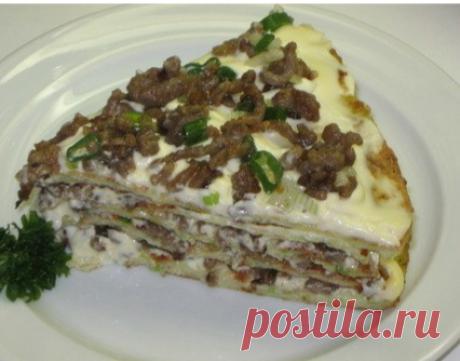 El pastel de calabacín con la carne y las setas\u000d\u000aEn 100грамм - 40.86; kkalB\/Zh\/U - 3.87\/1.18\/3.63