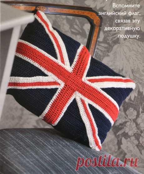 """Декоративная подушка """"Английский флаг"""". Крючком. / Md.Crochet"""