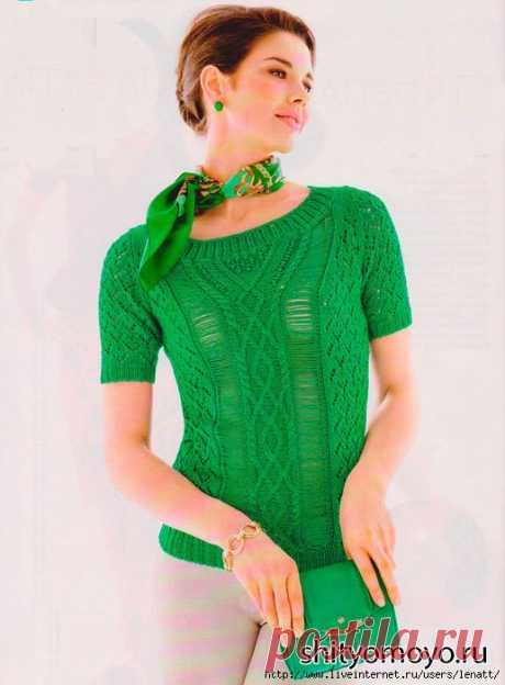 Спицы.Зеленый пуловер