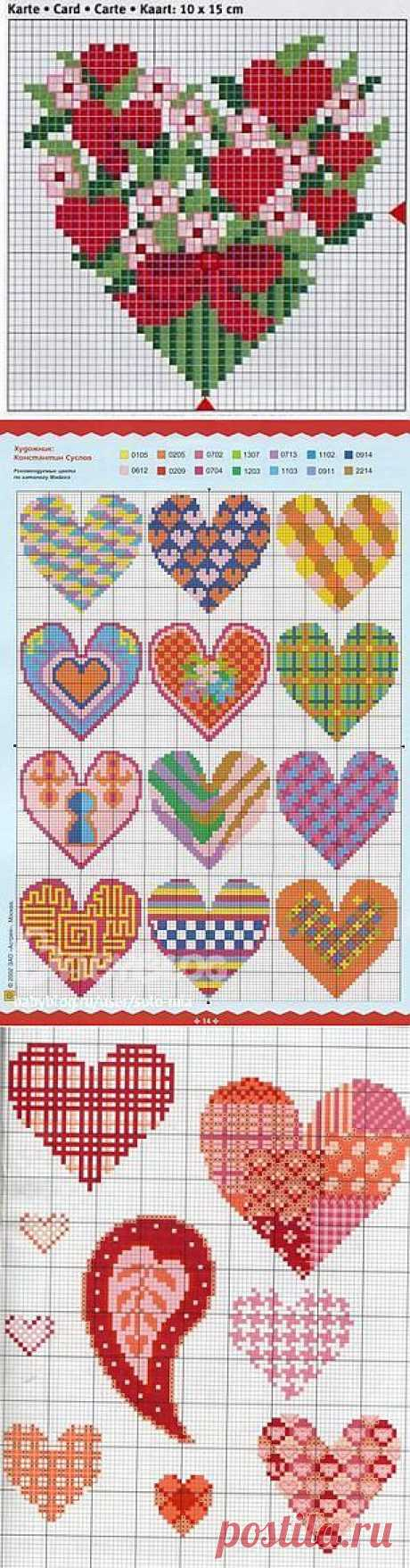Схемы для вышивки сердец, вышивка крестиком сердца | Лаборатория домашнего хозяйства